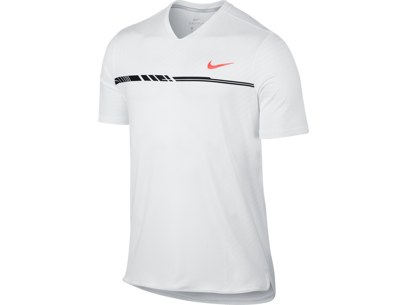 Men's NikeCourt Dry Challenger Tennis Top - M - WHITE/BLACK/HYPER ORANGE