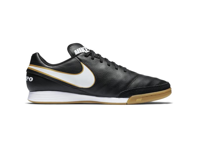 Fußball Hallenschuhe Nike Tiempo Genio II Leather (IC), 12, BLACKWHITE