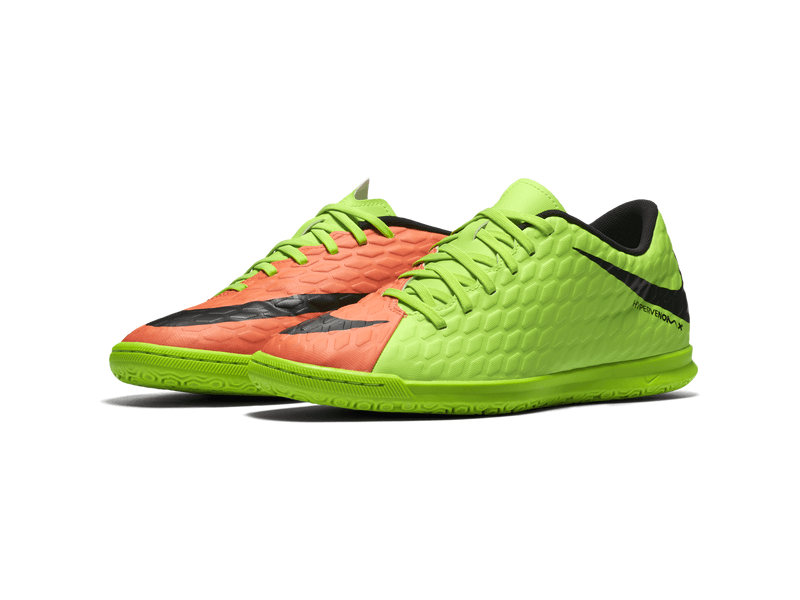 Fußball-Hallenschuhe Men's Nike Hypervenom Phade III (IC) Indoor-Competition Football Boot, 9.5, ELECTRIC GREEN/BLACK-HYPER ORA