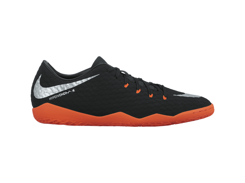 Men's Nike HypervenomX Phelon III (IC) Indoor-Competition Football Boot - 11.5 - BLACK/METALLIC SILVER-BLACK-AN