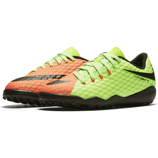 Kids' Nike Jr. HypervenomX Phelon III (TF) Artificial-Turf Football Boot - 3.5 - ELECTRIC GREEN/BLACK-HYPER ORA