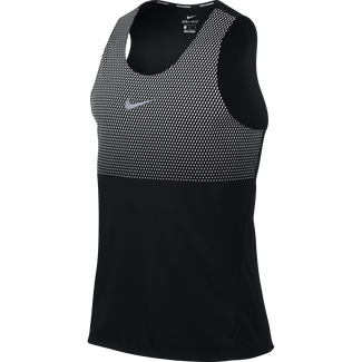Men's Nike Dry Running Top - L - BLACK/WHITE