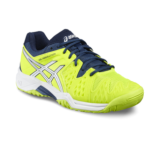 Kinder-Tennisschuhe Gel-Resolution 6 GS,  4, Safety-Yellow/White/Poseidon
