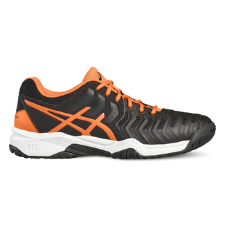 Kinder-Tennsischuhe GEL-RESOLUTION 7 GS, 2.5, BLACK/SHOCKING ORANGE/WHITE