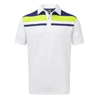 Herren-Golfpolo Smooth Pique Colour Block Yoke, M, White With Twilight & Citrus
