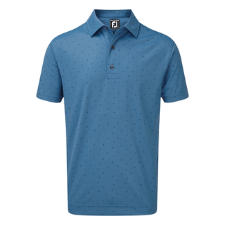 Herren-Golfpolo Smooth Pique With Fj Print, Xxl, Blue Marlin With Twilight