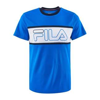 Herren-Tennis-T-Shirt Connor, 48, blau-weiß