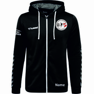 SG Ulm & Wiblingen HMLAUTHENTIC POLY ZIP HOODIE, 116, black/white