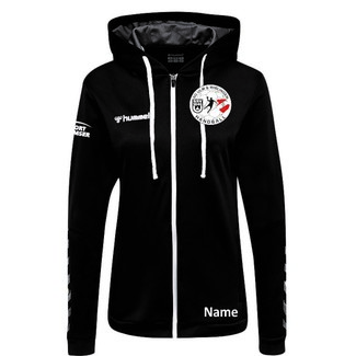 SG Ulm & Wiblingen HMLAUTHENTIC POLY ZIP HOODIE Woman, XS, black/white